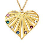 Family Necklace with birthstones in Gold Plating