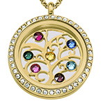 Family Tree Floating Locket with Birthstones - Gold Plated