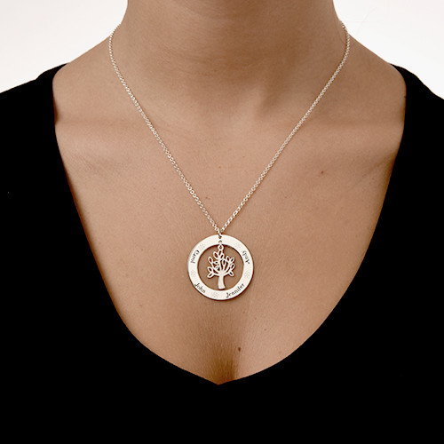 Family Tree Jewelry - Engraved Disc Necklace - 1