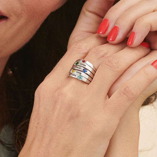 Five Stone Mothers Ring in Silver - Large Size - 3