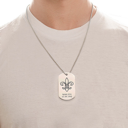 Fleur De Lis Dog Tag Necklace with Engraving - Stainless Steel - 1