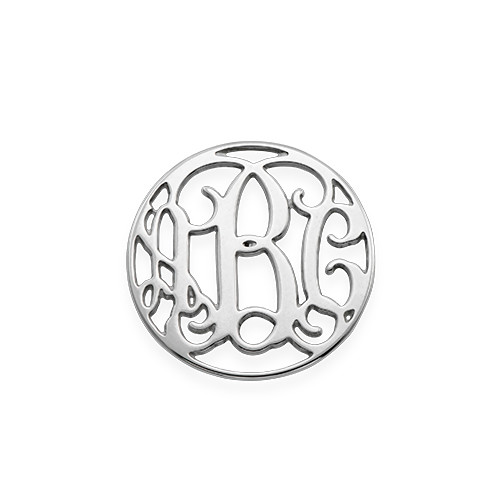 Floating Charm Plate - Monogram Silver Disc