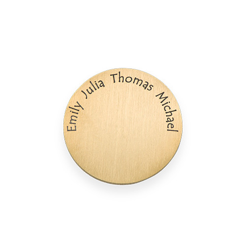 Floating Locket Plate - Gold Plated Disc with Engraved Names