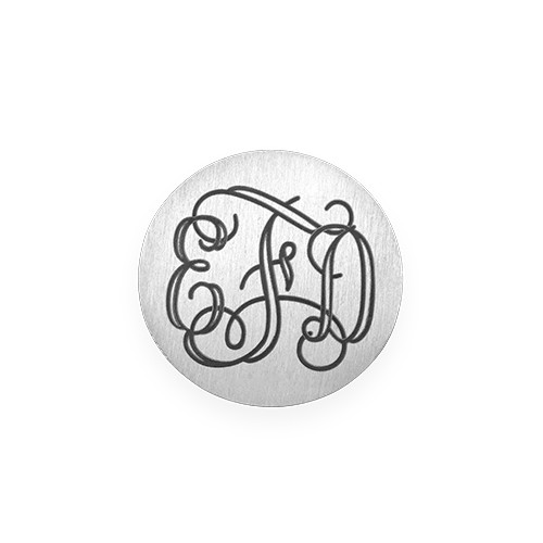 Floating Locket Plate - Silver Plated Disc with Monogram