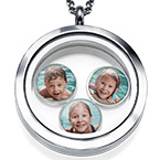 Floating Locket with Photo Charms