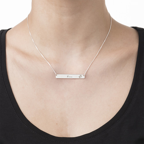 Footprint Bar Necklace with Engraving - 2