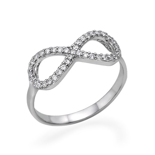 Fully Encrusted Cubic Zirconia Infinity Ring