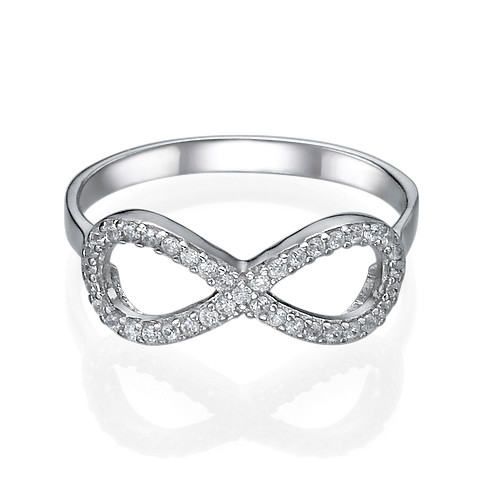 Fully Encrusted Cubic Zirconia Infinity Ring - 1