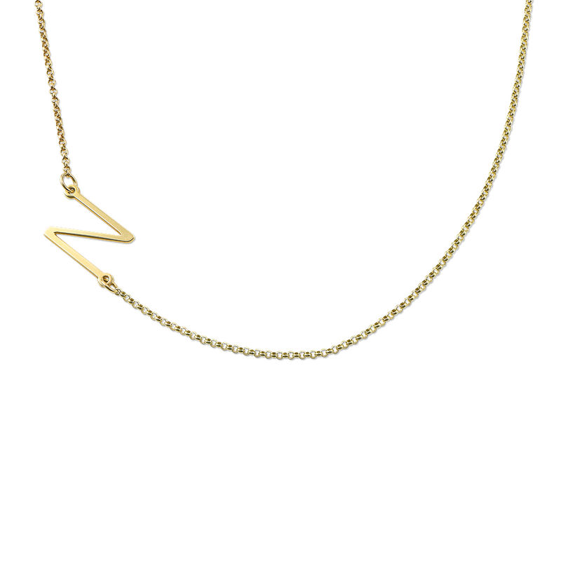 Gold Plated Side Initial Necklace