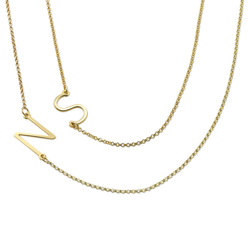 Gold Plated Side Initial Necklace - 1