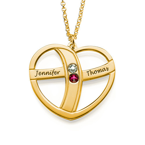 Gift for Mom - Engraved Gold Heart Necklace with Birthstones - 1