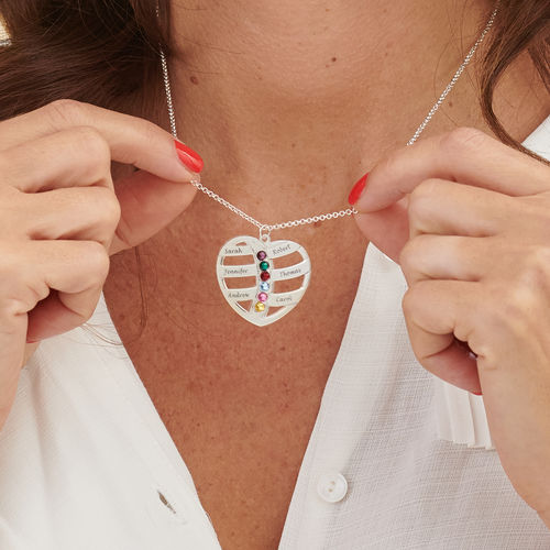 Engraved Heart Necklace with Birthstones - 3