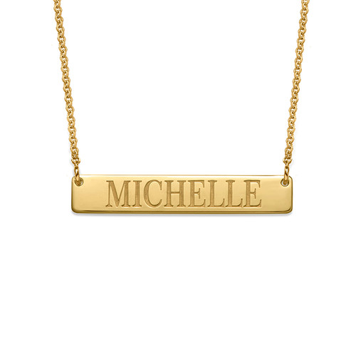 Engraved Bar Necklace in 18k Gold Plating