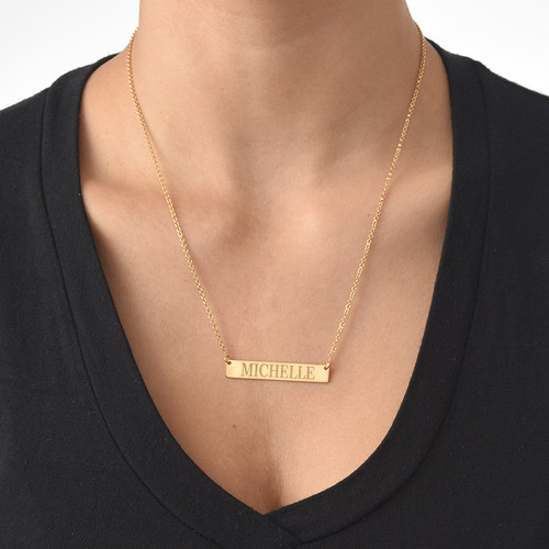 18k Gold Plated Engraved Bar Necklace - 1