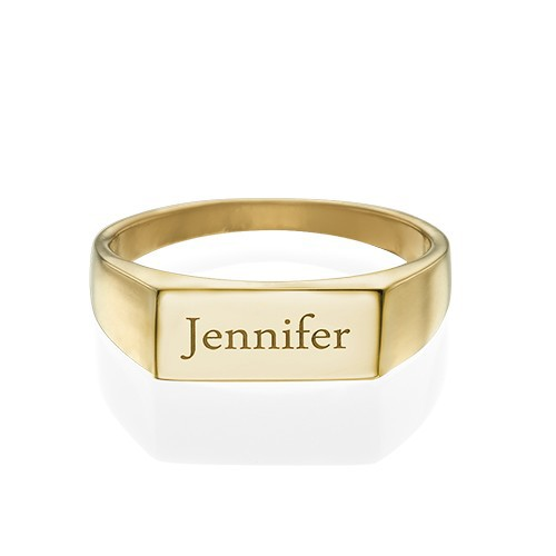 Gold Plated Engraved Signet Ring - 1