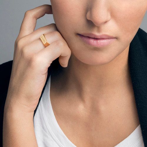 Gold Plated Engraved Signet Ring - 2