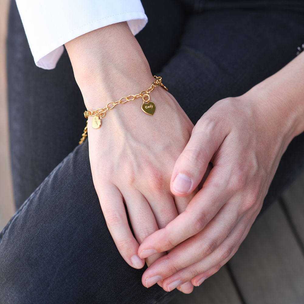 Gold Plated Grandma Bracelet with Engraved Charms - 1
