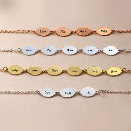 Gold Plated Mom Bracelet with Kids Names - Oval Design - 3