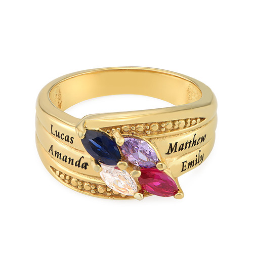 Gold Plated Mothers Ring with Birthstones