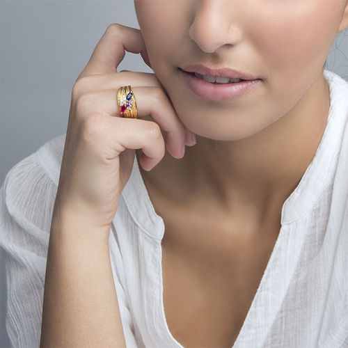 Gold Plated Mothers Ring with Birthstones - 3