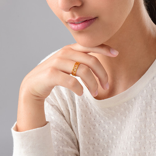 Gold Plated Roman Numeral Ring - 2