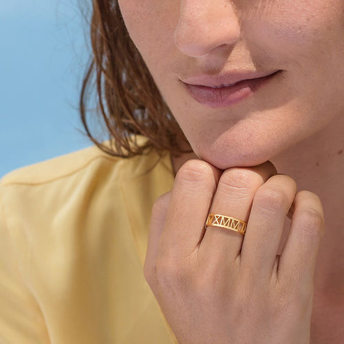 Gold Plated Roman Numeral Ring - 3