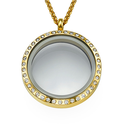 Gold Plated Round Locket Necklace with Crystals
