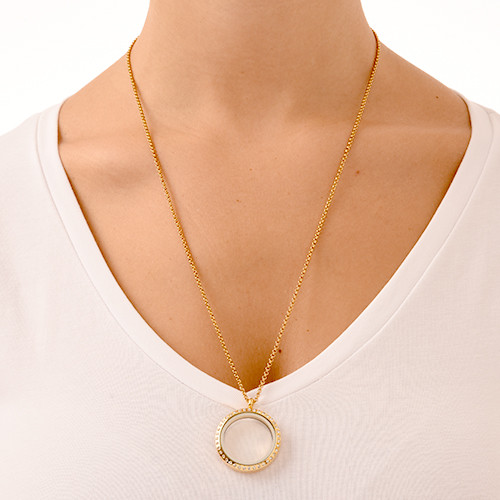 Gold Plated Round Locket Necklace with Crystals - 2