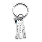 Grandma Keychain with Personalized Birthstone Bars