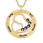 Heart in Heart Birthstone Necklace - 10K Yellow Gold