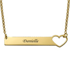 Heart Bar Necklace with Engraving - 18K Gold Plated