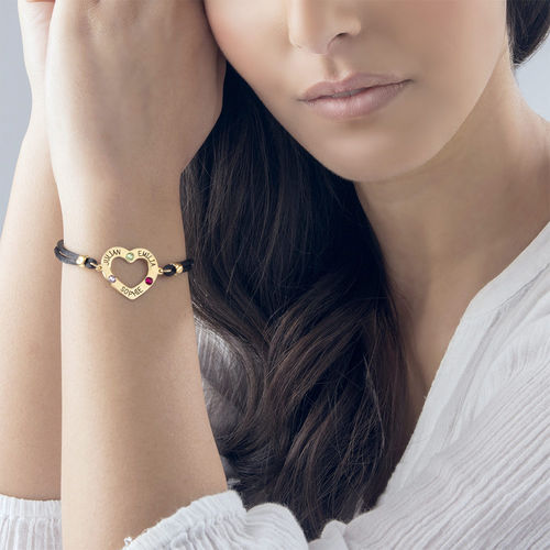Heart Bracelet with Birthstones - 18K Gold Plating - 2
