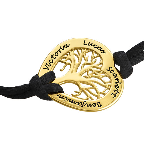Heart Family Tree Bracelet with Gold Plating - 1