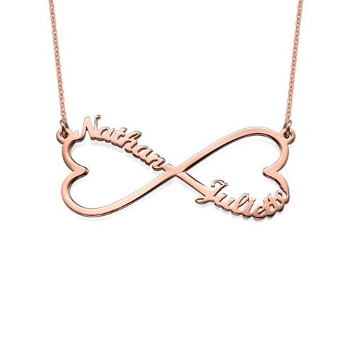 Heart Infinity Name Necklace - Rose Gold Plated