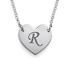 Initial Heart Necklace with Print Font