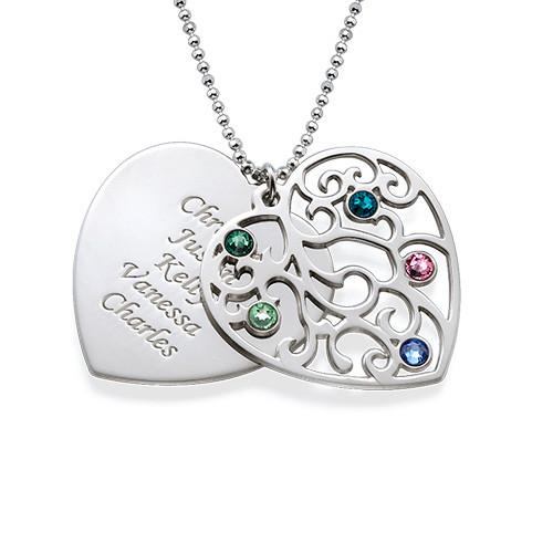 Heart Shaped Filigree Family Tree Birthstone Necklace