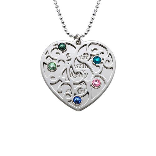 Heart Shaped Filigree Family Tree Birthstone Necklace - 1