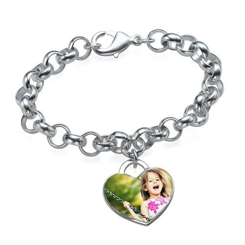 Heart Shaped Photo Charm Bracelet - 1