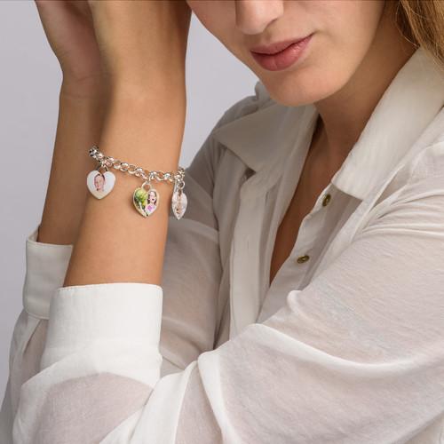 Heart Shaped Photo Charm Bracelet - 3