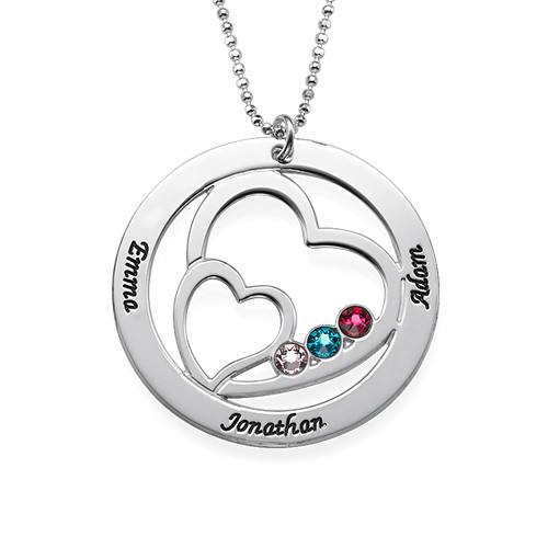 Heart in Heart Birthstone Necklace for Moms - 1