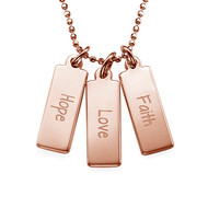 Hope Love Faith Inspirational Bar Necklace RGP