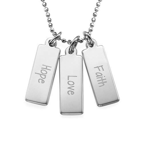 Hope Love Faith Inspirational Bar Necklace SILVER