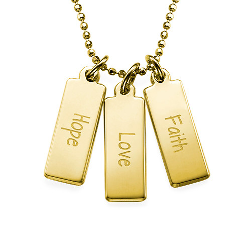 Hope Love Faith Inspirational Bar Necklace