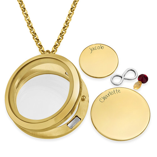 Infinite Love Floating Locket with Gold Plating - 1