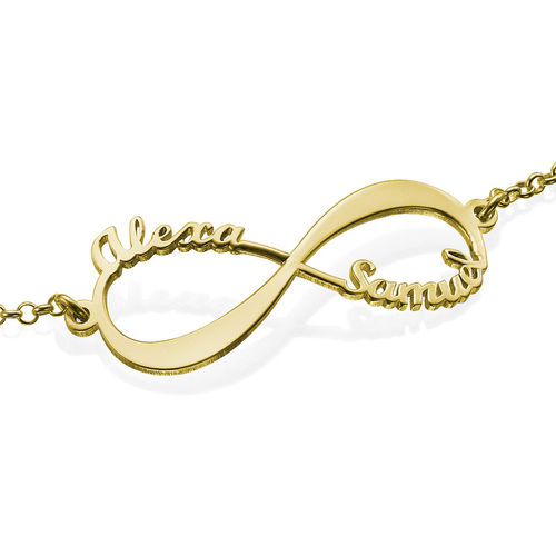 Infinity Bracelet with Names - 18K Gold Plated - 2