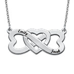Infinity Heart Necklace with Names