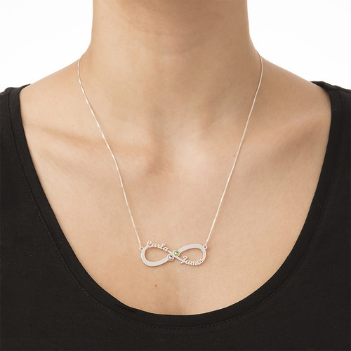 Infinity Name Necklace with Birthstones - 2