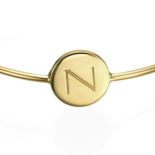 Initial Bangle Bracelet - 18k Gold Plated - Adjustable - 1