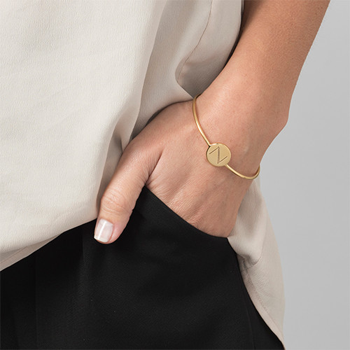 Initial Bangle Bracelet - 18k Gold Plated - Adjustable - 2