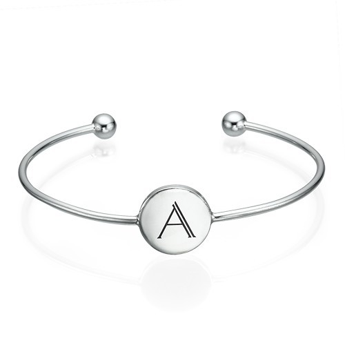 Initial Bangle Bracelet - Sterling Silver - Adjustable